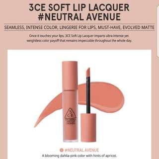3CE Soft Lip Lacquer #NEUTRAL AVENUE