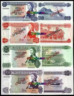 1978 Mauritius Specimen Bank Notes with COA