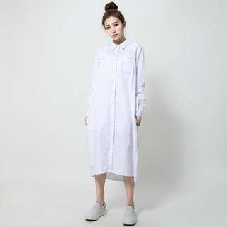 Sumi said 文藝青年長版拼接襯衫洋裝