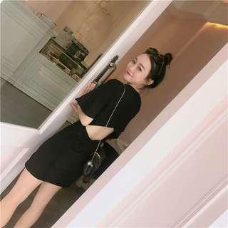 🎀全新黑色荷葉短袖小心機露背洋裝