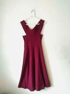 Off Shoulder Maroon Dress