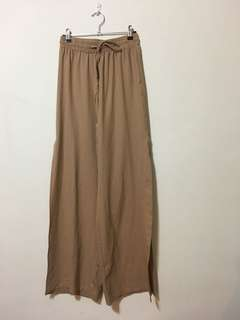 Tan Wide pants with splits