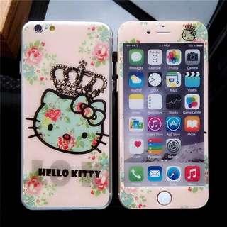 可換物 iphone7/7plus/8/6/6s/6splus kitty 哆啦A夢鋼化膜  前膜+後膜