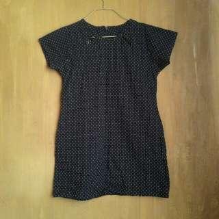 Blue Polka Dot Mini Dress
