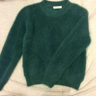 墨綠色毛毛衣