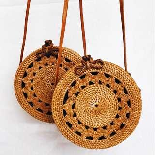 ♦️現貨♦️ 夏日時尚草編包 峇厘島手工藤包 圓形草編包 Bali Handmade Rattan Bag