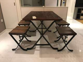 Dining Table And 4 Chairs Set (Solid wood and steel)