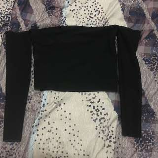 Fitted Long Sleeved Off-Shoulder Top
