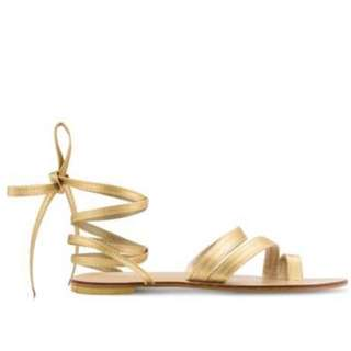 Gold Lace Up Grecian Flat Sandals