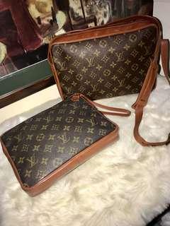 SALE!! ❤️❤️Authentic Vintage Louis Vuitton Sac Bandolier Monogram and Monogram Pochette Sports Clutch Bag