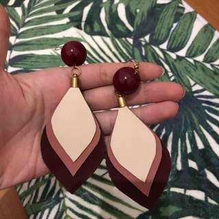 Maroon Leaf earrings