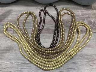Kalung Mutiara - Yellow Gold, Gold, Brown