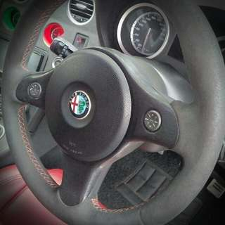 Alcantara Leather-wrapped Steering Wheel -  Alfa Romeo 159/Brera