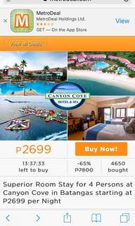 Canyon cove voucher for sale May 13-14