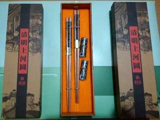 清明上河圖荷木筷子兩對裝 送禮 自用 收藏