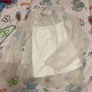 白色透膚雪紡上衣