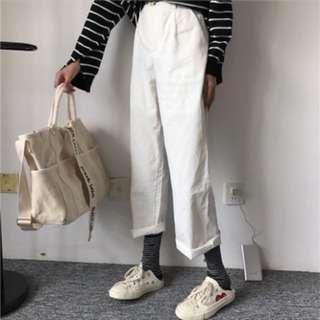 🚚 白色寬褲