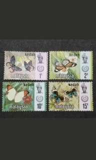Malaysia 1971 Kedah Butterflies Definitive Loose Set - 4v MNH Stamps