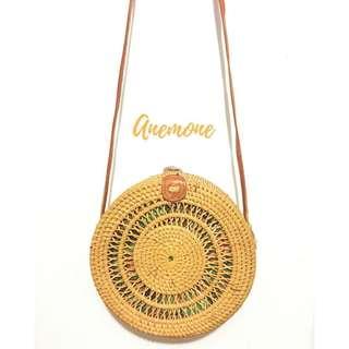 Rattan Bag in Anemone