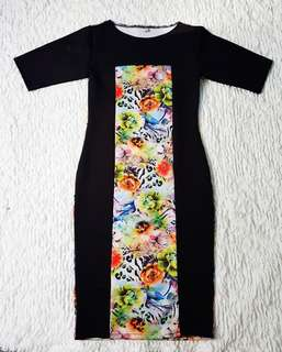 Black with floral bodycon dress