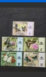 Malaysia 1971 Melaka Butterflies Definitive Loose Set - 5v MNH & Used Stamps