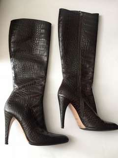 Authentic PRADA Crocodile Stamped Knee High Boots