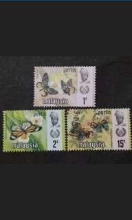 Malaysia 1971 Perlis Butterflies Definitive Loose Set - 3v MNH & Used Stamps