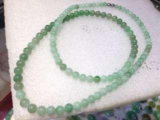 100%純天然A貨翡翠~花青種圓珠串頸鍊