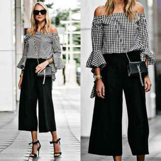Gingham Offshoulder and Black Trousers