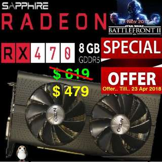 Sapphire RX 470 8G GDDR5 RADEON PCI-E DVI-D Mining Edition. ( Offer Till 23 Apr 2018 ) Hurry..Grab it while stock last..