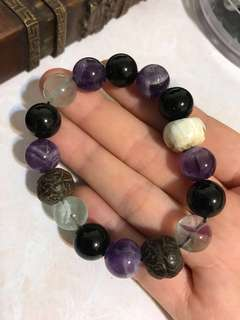 Natural crystal beads bracelet amethyst fluorite tridacna buddhi bead obsidian