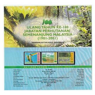 2001 100th Anniversary of Forestry Department of Peninsular Malaysia presentation pack SG#1041-1043