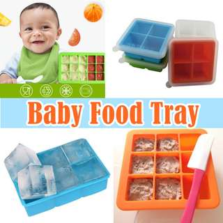 Food Grade Silicone/Baby Food Freezing Tray with Cover/Ice Cube Tray/Food Container/Jelly Mould