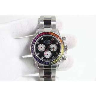 Rolex Daytona Man Made Diamond & Gem Bezel ETA7750 Swiss Engine