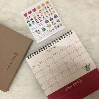 Gong cha cute calendar