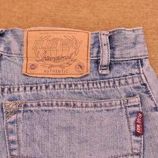BLUE WAY 牛仔短褲 腰寬26吋