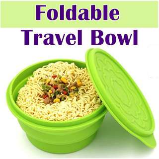 Foldable Collapsible Portable Travel Bowl  ★Food Grade Silicone Safe ★Ideal for Travelling and Camping