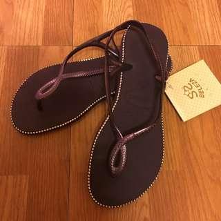 havaianas 哈瓦仕 涼鞋 繞鑽 37/38 紫色