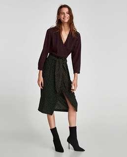 NWT Zara polka dot wrap dress