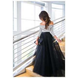 Stripe Top & Gown Skirt Dress TERNO