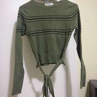 Zara cropped sweater with belt