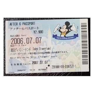 (1A) AFTER 6 PASSPORT - TOKYO DISNEY, $18 包郵