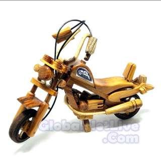 Miniatur motor harley davidson kayu jati