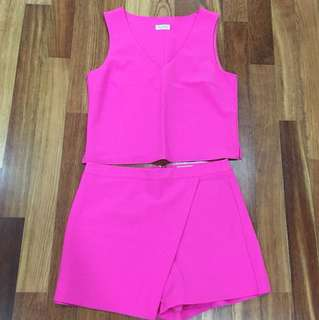 Miss Selfridge Bright Pink 2 Piece Blouse and Shorts