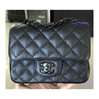 Authentic Chanel Mini Square SO BLACK