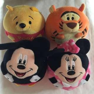 4 pcs TY Beanie Ballz Minnie,Mickey,Pooh & Tigger