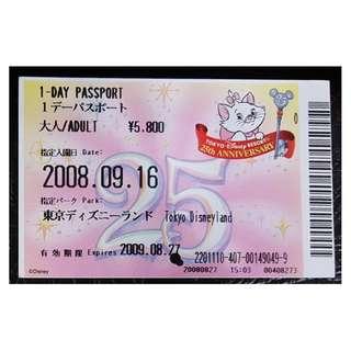 (1A) ONE DAY PASSPORT - TOKYO DISNEY 25 週年, $28 包郵