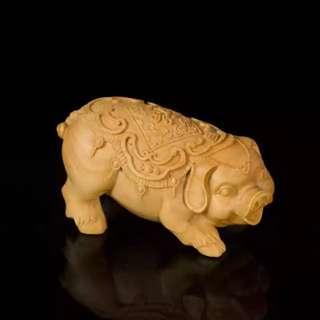 【禮贊精品文物館·亥豬·諸事順利】黃陽木木雕12生肖亥豬天干地支典藏文物意境開運招財擺設居家生活美化環境