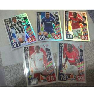 Match Attax Champions League Pro 11 cards (Lot of 5 cards)