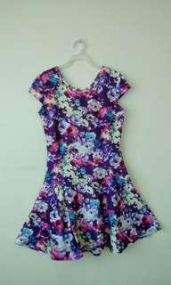 Cup sleeved floral skater dress